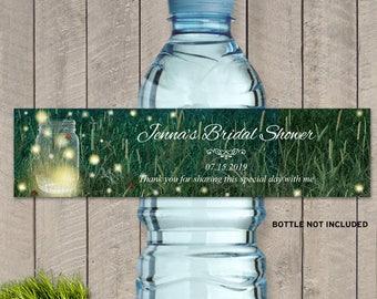 "Printable Rustic Meadow Summer Night Mason Jar Fireflies Bottle Labels - Bridal Shower; 8"" x 2"" Labels - Editable PDF, Instant Download"