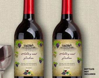 """Printable Vineyard Wine and Grapes Wine Bottle Labels - Bridal Shower or Wedding; Personalized 4"""" x 5"""" - Editable PDF, Instant Download"""