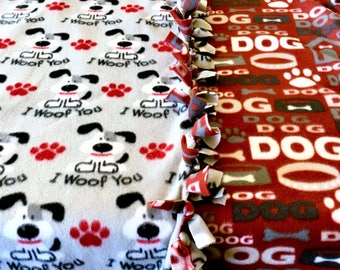 WOOF WHOs N Ur DogHouse! handmade fleece blanket designed by JAX. A dog&puppie theme throw is a gift idea or pet care item not to be missed!