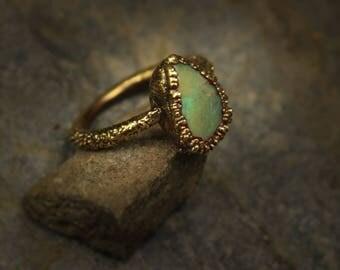 Australian boulder opal electroform ring