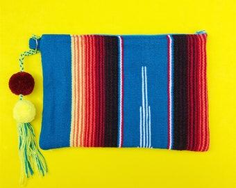 Mexican clutch, Serape bag, Serape blanket clutch, Mexican bag, Pom pom clutch, Boho clutch, Mexican handbag, Mexican purse, Pom pom charm