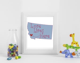 Personalized Modern  cross stitch PDF pattern, Love lives here cross stitch pattern,best friend,Montana cross sitch,long distance friendship