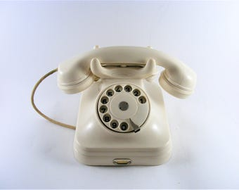 Vintage 1960's White Bakelite Rotary Telephone Pupin Yugoslavia Working Condition