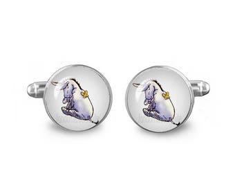 Eeyore Cuff Links Eeyore Cufflinks 16mm Cufflinks Gift for Men Groomsmen Fandom Jewelry Winnie Pooh