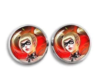 Harley Quinn Earrings 12 mm Harley Quinn Stud earrings Comic Earrings Fandom Jewelry Cosplay Fangirl Fanboy