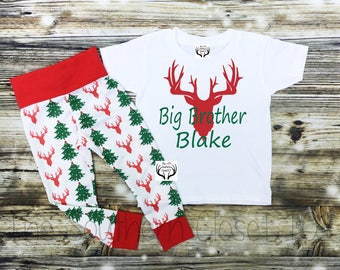 Big Brother Outfit, Brother Outfits,Big Brother Christmas Outfit Deer Outfit,Baby Boy, Boys Christmas Outfit