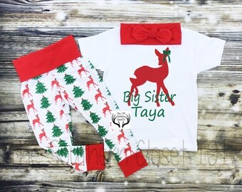 Girls Christmas Outfit, Big Sister Outfit, Sister Outfits,Big Sister Christmas Outfit,Big Sister,Girls Christmas Leggings, Christmas Set
