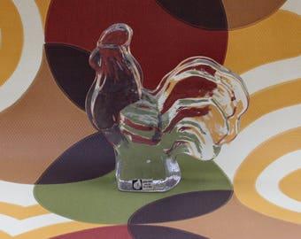 Decorative vintage Rooster Bird figurine in clear crystal glass. Designed by Christer Sjögren for Lindshammar, Sweden Scandinavian
