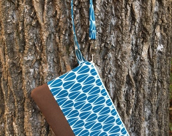 Small Katrina Pouch, teal and brown canvas