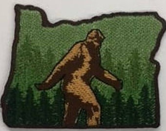 """Bigfoot Sasquatch Oregon State Embroidery patch, iron on or sew 2"""" h"""