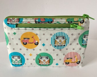 Cell phone bag cosmetic bag two zippers