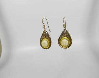 Item 4052 - Handcrafted Abstract Bronze Dangle Earrings with Suspended Bone Carved Face and 14K GF Earring Hooks