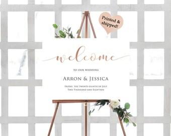 Rose Gold Foil Wedding Welcome Sign- Custom Wedding Welcome Sign- Welcome To Our Beginning Sign- Large Wedding Sign- Rustic Wedding Sign-