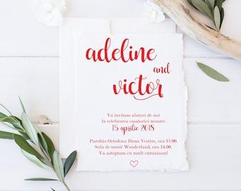 Handmade paper invitations   elegant invitations  Wedding stationery   Red invitations