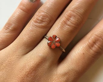 Vintage Rare Red Coral Women's Flower Statement Ring size 7.5
