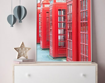 London England, Travel Themed Art, Moving Away Gift, Travel Office, Cubicle Decor, Nursery Photo Art, Red Phone Booth, England Photograph