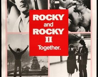 "Original Movie Poster - Rocky (1976) / Rocky II (1979) Original 40"" x 60"" Movie Poster"