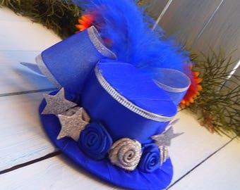 Mini Top Hat Headband Christmas Mini Top Hat Birthday Party Hat Baby Mini Hat Tea Party Top Hat Fascinator Blue Silver Mini Hat Baby Shower
