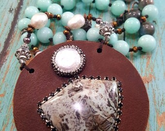 My Hearts Shield ~ Leather, Pearl, Pave Crystal, Jasper Necklace