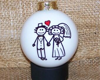 Wedding Christmas Glass Ornament Gift Bride and Groom Anniversary Gift
