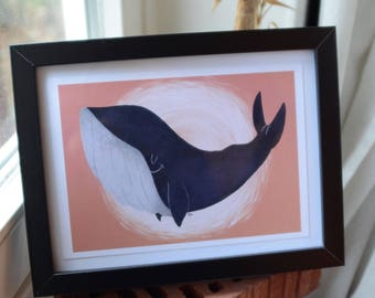 "Fie Art Print, ""Save the whales"" - Blue whale"