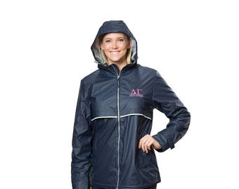DG Delta Gamma Sorority Charles River New Englander Rain Jacket With Greek Letter Line Font Embroidery
