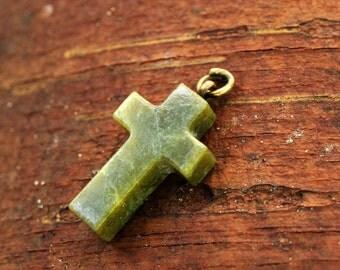 vintage green stone cross pendant / religious necklace pendant green stone cross