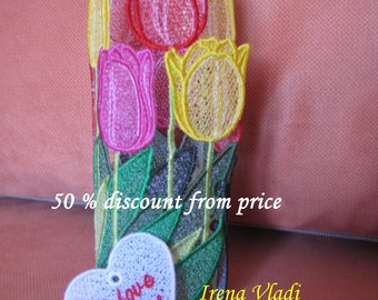 50% OFF FSL 3D Bouquet of Tulips/Flowers/ Free Standing Lace Machine Embroidery design Instant Download 5x7hoop - 1 size, Mother's Day/Gift