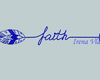 2 Designs Faith With Arrow Embroidery Design Arrow Embellishment Arrow Fill Stitch Embroidery/3 sizes/ Instant Download 4x4 5x7hoop, arrows