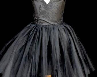 Black Tulle Party Girl Dress, Girl Black Lace Dress, Black V-Neck And V-Back Dress, Sleeveless Black Lace Tutu Dress, Girls Black Tutu Dress