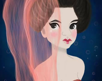 Geisha Mermaid / Mermaid Art Print / Mermaid Art / Digital Art Print (5X7 Print + Digital Copy) -- FREE SHIPPING --