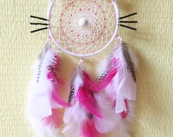 Dreamcatcher Customizable Kitty Shape Cat ** COLORS ** Diameter 10 cm