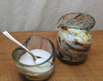 Hand Blown Creamer and Sugar Bowl Set in Rainbow