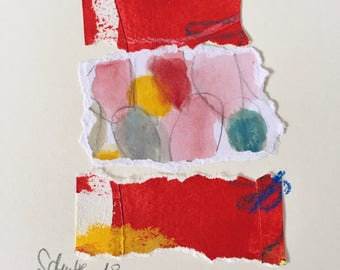 Collage, modern painting, abstract painting, art on paper, contemporary art