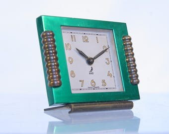French Jaz alarm clock, 1952, bronze & green enamelled metal, art deco clock