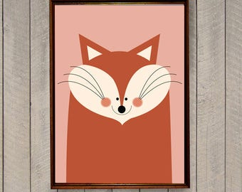 Nursery Illustration, Digital Nursery Print, Nursery Wall Decor, Nursery Art Print, Woodland Nursery, Nursery Fox, Scandinavian Print