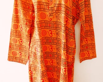 Traditional Om kurta, ethnic wear kurta, mantra  printed kurta,unisex kurta,hare Krishna kurta,Indian look