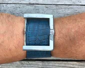 Genuine Blue Leather Cuff with Buckle