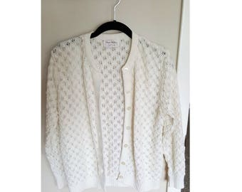 Vintage 1970s lace knit cream cardigan, knit fall cardigan, leaf lace knit cardigan, Wayne Taylor cardigan sweater