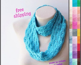 Oversized knit scarf, Blue infinity scarf, Knit loop scarf, Lace infinity scarf, Knit infinity scarf, Floral infinity scarf, 100% Cotton.
