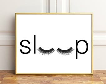 Bedroom wall decor, Sleep wall art, Bedroom Minimalist Poster, Eyelashes wall art, Fashion Poster, Fashion Print, Bedroom Poster Sleep print