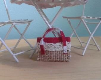 Miniature Polka Dot Tote Bag (1:12th Scale)
