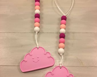 Cloud Teether, Girl Teether, Baby Girl, Silicone Teether, Silicone cloud, Teether, Carrier Accessories, Baby Shower Gift, Silicone Beads,