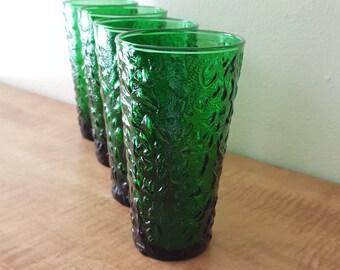 Anchor Hocking Emerald Green Lido Milano Set of 4