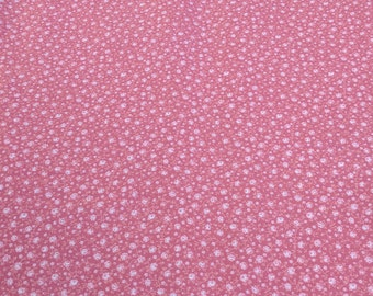 Pink Flowers on Pink Cotton Fabric
