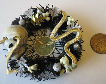 Halloween Dollhouse miniature wreath with skull
