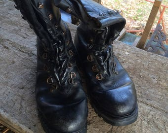 leather german army combat boots  size 44/10.5