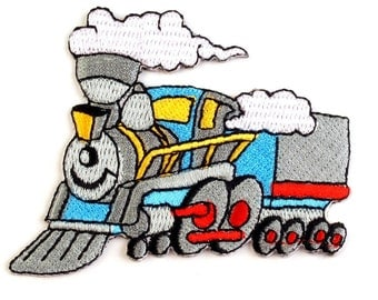 Steam Train Iron on Applique, Locomotive Iron on Patch, Train Iron-on Application