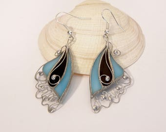 Blue Butterfly Lace Earrings, Stained Glass Earrings, Unique Earings, Tiffany technique, Gift for her, Turquoise Butterfly Wings