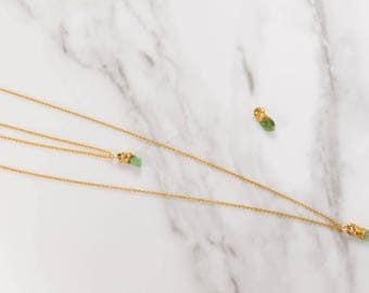 Raw Emerald Necklace, Raw Gemstone Necklace, Rough Crystal Choker Necklace, Delicate Necklace, Dainty Necklaces, Layering Gold Choker Gift,